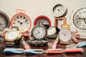 Many different Clocks — Stock Photo