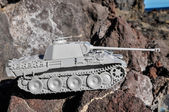 Old Ancient Vinatge Figurine Model Gray Tank — Stock Photo