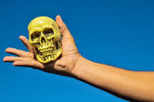 Ancient Vintage Old Doll with Human Skull — Stock Photo