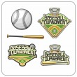 Baseball attributes and emblems — Stock Vector