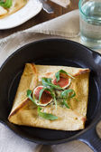Chikpea Crepes with Figs, Blue cheese, and Arugula — Stock Photo