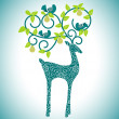 Organic leaves with reindeer - Stock Vector
