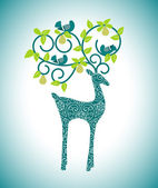 Organic leaves with reindeer — Stock Vector