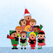 Stock Vector: Christmas Carol Children