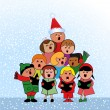 Christmas Carol Children - Stock Vector