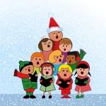 Christmas Carol Children — Stock Vector