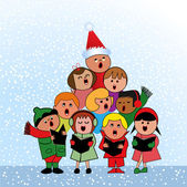 Christmas Carol Children — Stock Vector