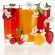 Berries and fruits juices , isolated on white — Stock Photo
