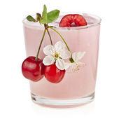 Cherry Smoothie - Fresh Fruits with Yogurt isolated on white background — Stock Photo