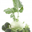 Kohlrabi and broccoli isolated on white background — Stock Photo