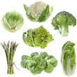 Collection green cabbage isolated on white background - Stock Photo