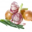Fresh green onions with young garlic isolated on white background — Stock Photo