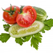 Fresh tomato and cucumber isolated on white  — Stock Photo