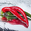 Red hot chili pepper with water drops - 