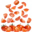Falling slices ripe tomatoes — Stock Photo #13816990