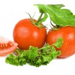 Tomatoes isolated over white background — Stock Photo