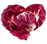 Red Cabbage Radicchio Rosso shape heart isolated on white — Stock Photo