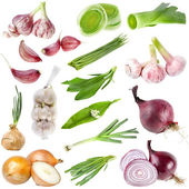 A large collection onion and garlic isolated over white background — Stock Photo