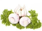 成熟的大蒜水果与绿色香菜叶子上孤立的白色背景 — 图库照片