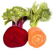 Beet with carrot isolated on white background — Stock Photo