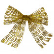 Royalty-Free Stock Photo: Golden ribbon bow on white