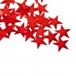 Red Christmas Star with copy space for your text on a white background - Stock Photo