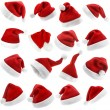 The Collection Red Christmas Santa Claus Hat isolated on white background — Stock Photo