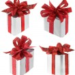 Present box with red ribbon bow isolated on white — Stock Photo