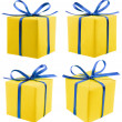 Two gift colorful boxes with bows ribbons isolated on white background — Stock Photo
