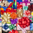 Many colorful gift boxes with ribbon bows - ストック写真