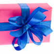 Present box with ribbon bow isolated — Stock Photo #13836343