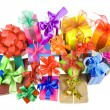 Royalty-Free Stock Photo: Colorful gift boxes with bows isolated on white background