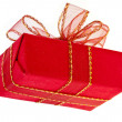 Gift red box with ribbon bow - Stock Photo