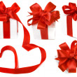 Stock Photo: Present box with red ribbon