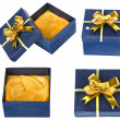 Gift box with ribbon bow isolated on white - Lizenzfreies Foto