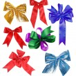 Collection beautiful colourful ribbon bow isolated on white — Stock Photo