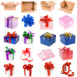 Present boxes collection with bows isolated on white background — Stock Photo #13836557