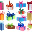 Present boxes collection with bows isolated on white background — Stock Photo #13836562