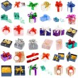 Present boxes collection with bows isolated on white background — Stock Photo
