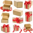 Collection present boxes with red ribbon bows isolated on white — Stock Photo #13836752