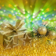 Christmas ornament with defocused lights background — Stock Photo