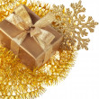 Christmas golden gift box on white background — Stock Photo