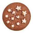 Christmas chocolate cookie with stars isolated on a white background — Stock Photo #13836884