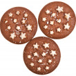 Christmas chocolate cookie with stars isolated on a white background — Stock Photo