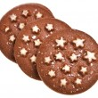 Christmas chocolate cookie with stars isolated on a white background — Stock Photo #13836887