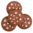 Christmas chocolate cookie with stars isolated on a white background — Stock Photo #13836891