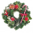 Royalty-Free Stock Photo: Christmas wreath of nature leaves and berries holly ilex isolated on white
