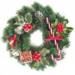 Christmas wreath of nature leaves and berries holly ilex isolated on white — Stock Photo #13836959