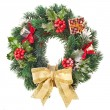 Christmas wreath of nature leaves and berries holly ilex isolated on white — Stock Photo