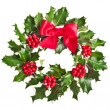 Christmas wreath of nature leaves and berries holly ilex isolated on white — Stock Photo #13836974